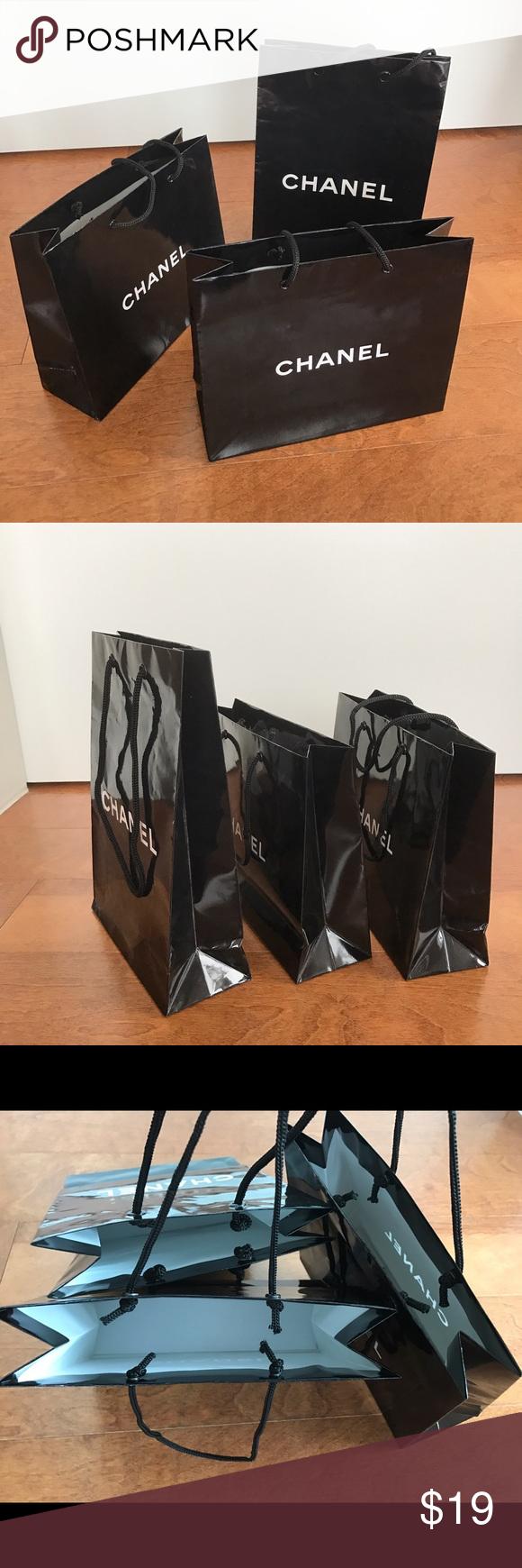 2e5048de2a9c 3 three Chanel black paper bag small size makeup Lot of three small size  Chanel paper