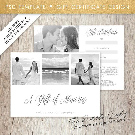 Photography Gift Certificate Template Design 3 INSTANT - certificate template software