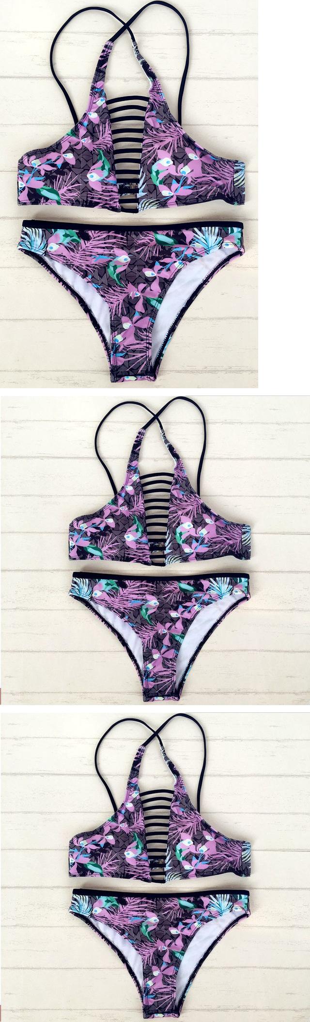 Purple Strappy Floral Bikini Set