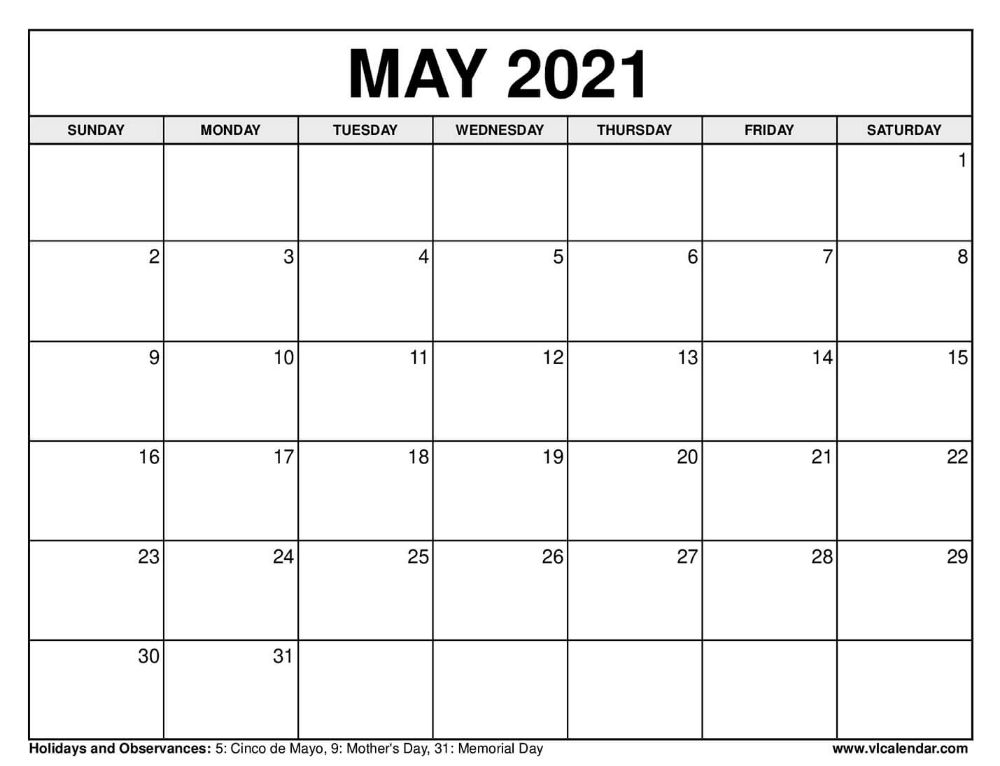 May 2021 Calendar Calendar Printables Monthly Calendar Printable 2021 Calendar