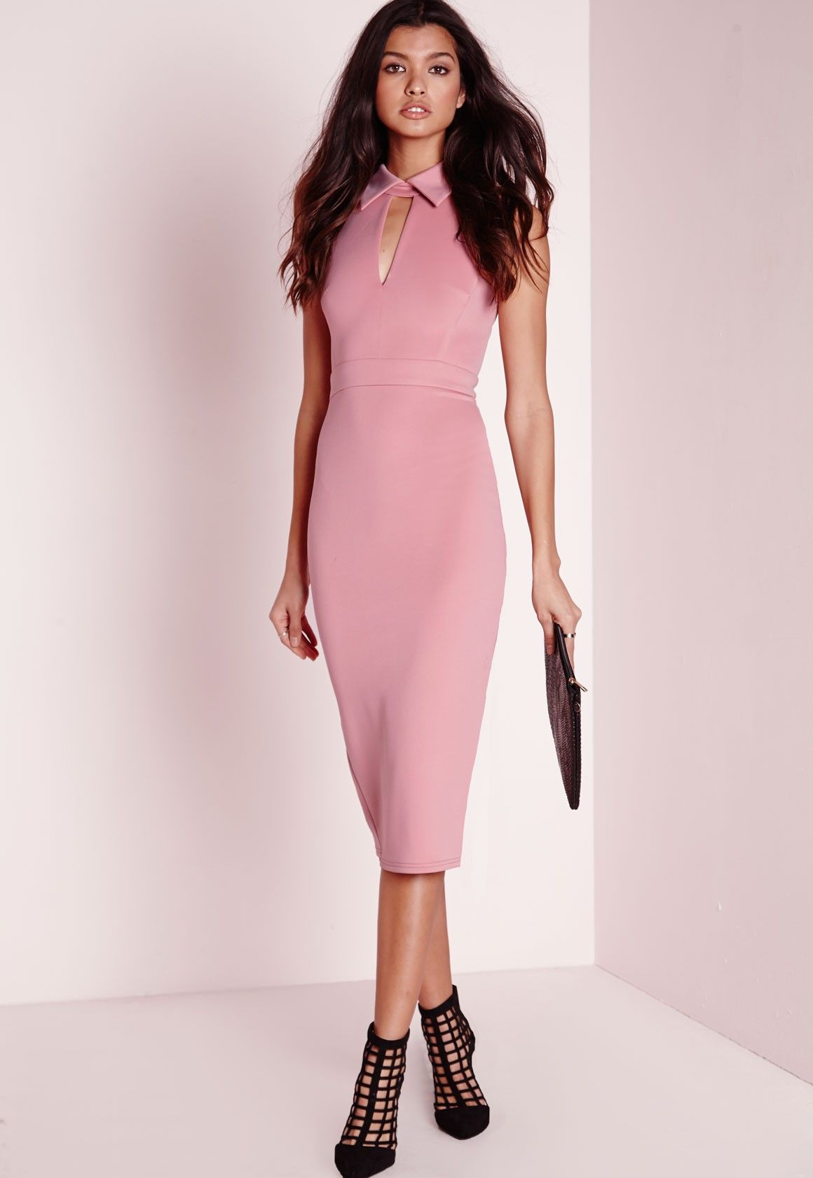 Missguided - Scuba Collared Midi Dress Dusky Pink | Style... | Pinterest