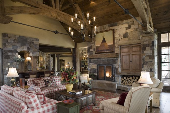 Rustic Living Room By Markham Roberts Inc By: Hearth Room/ Rustic Den/ Rustic Living Room