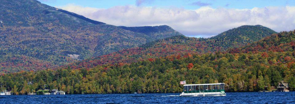 Go on a fall foliage tour with lake placid marina boat