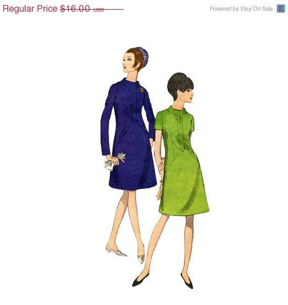 1960s A Line Dress Pattern Vogue 6938 Standing Collar Welt Pockets ...