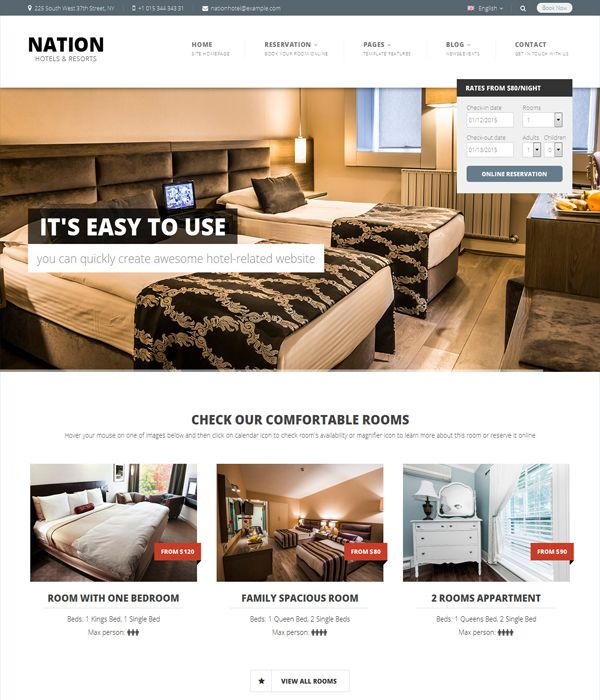 Nation Hotel Wordpress Responsive Theme Wordpress Theme Bed
