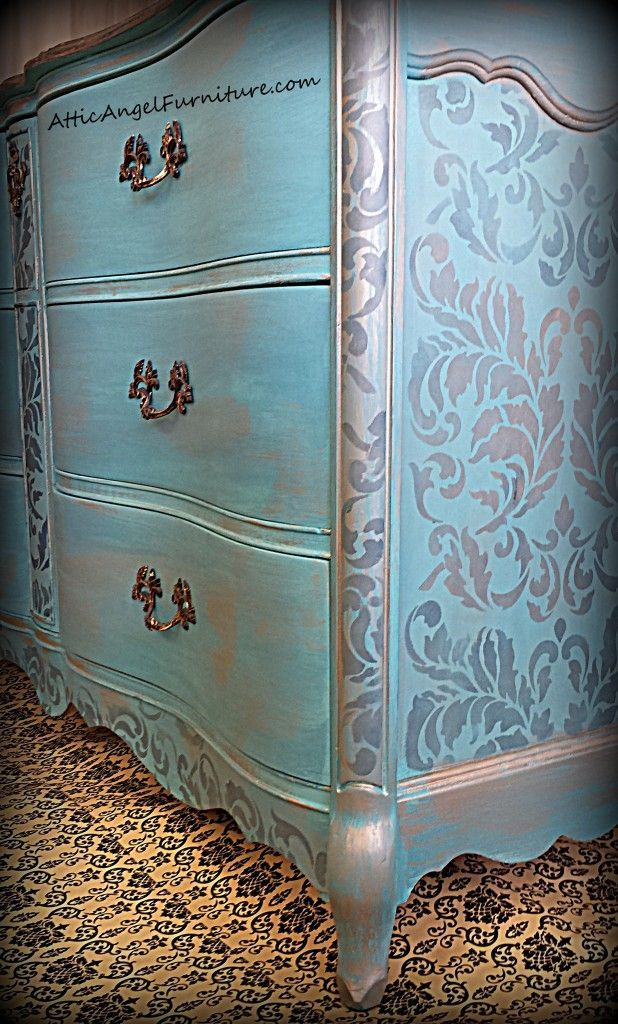 Turquoise Dresser  Stencil With More Than One Color To Create Depth    Acanthus Damask Furniture Stencils From Royal Design Studio
