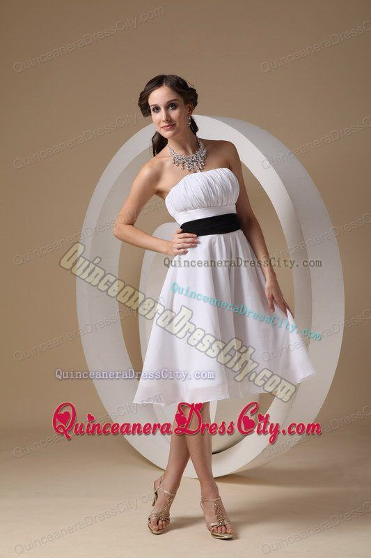 d6d0e33356f New Knee-length White Quinceanera Dama Dresses with Ruches and Sash ...