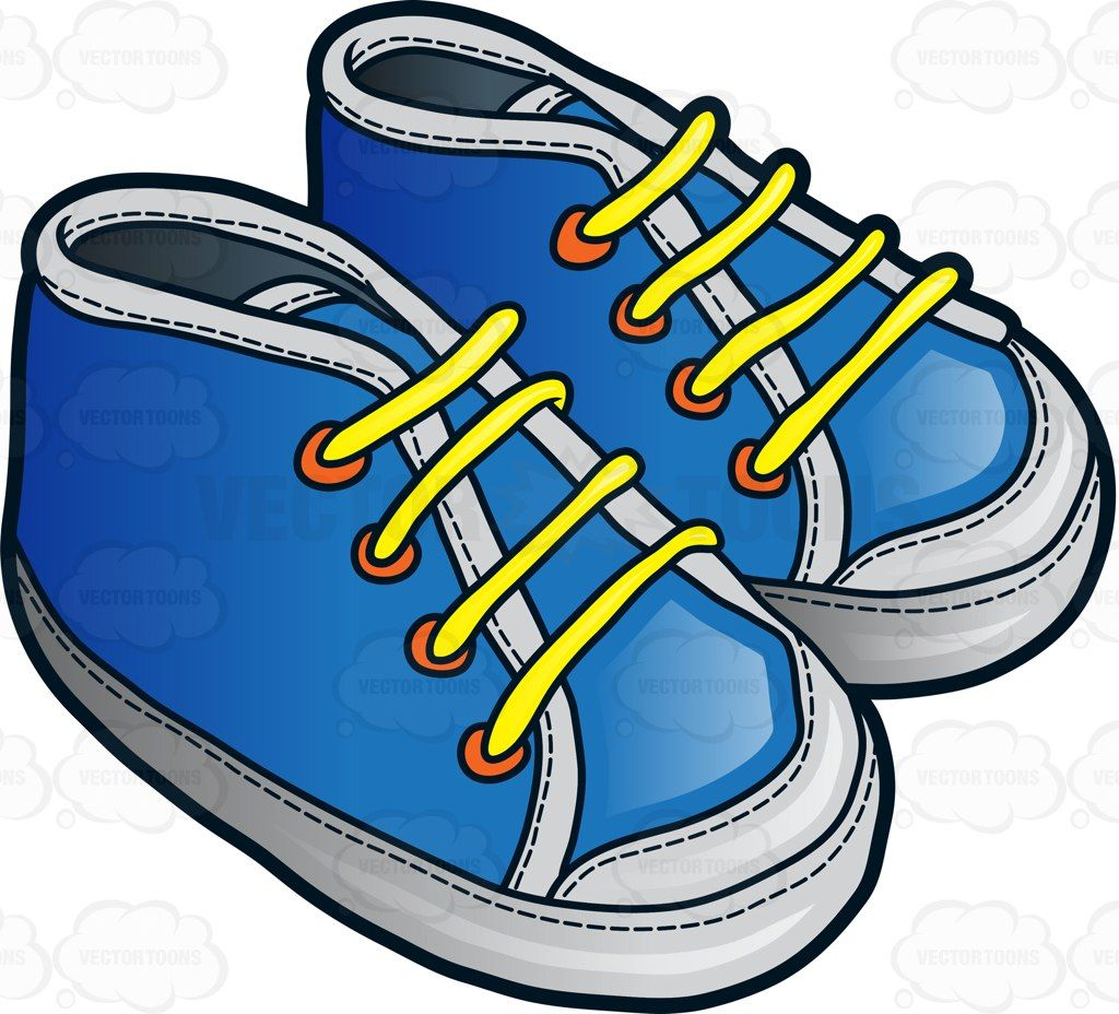 Infant Footwear For A Baby Boy Cartoon Clipart - Vector Toons