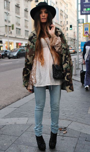 Military & Sequins!   #military #streetstyle #camoprint
