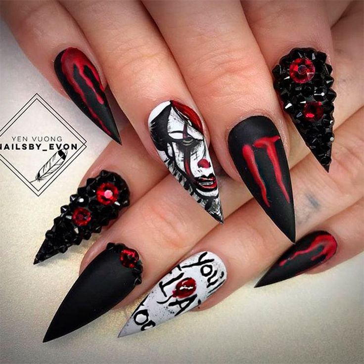 Photo of Vampire Halloween Stiletto Nails #halloween #halloweennails #halloweennailart #s…