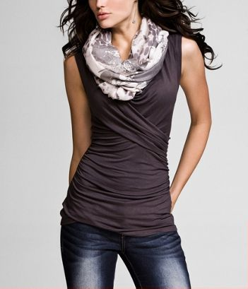 I love the wrap detail on the shirt and the dainty scarf.