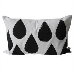 Fine Little Day . Drops Cushion Cover . Black and White
