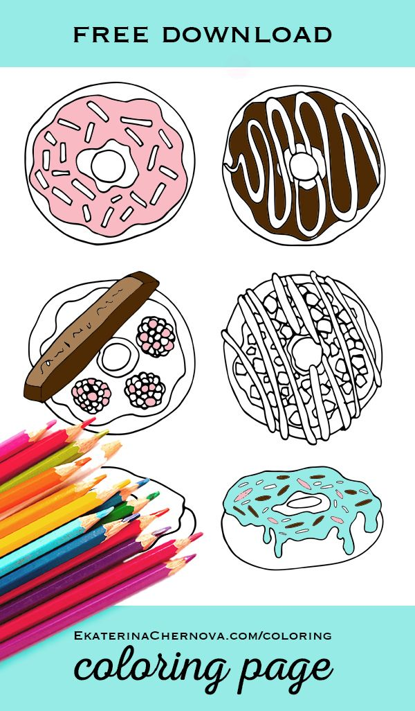 Doughnuts Coloring Page Free Printable Donut Birthday Parties