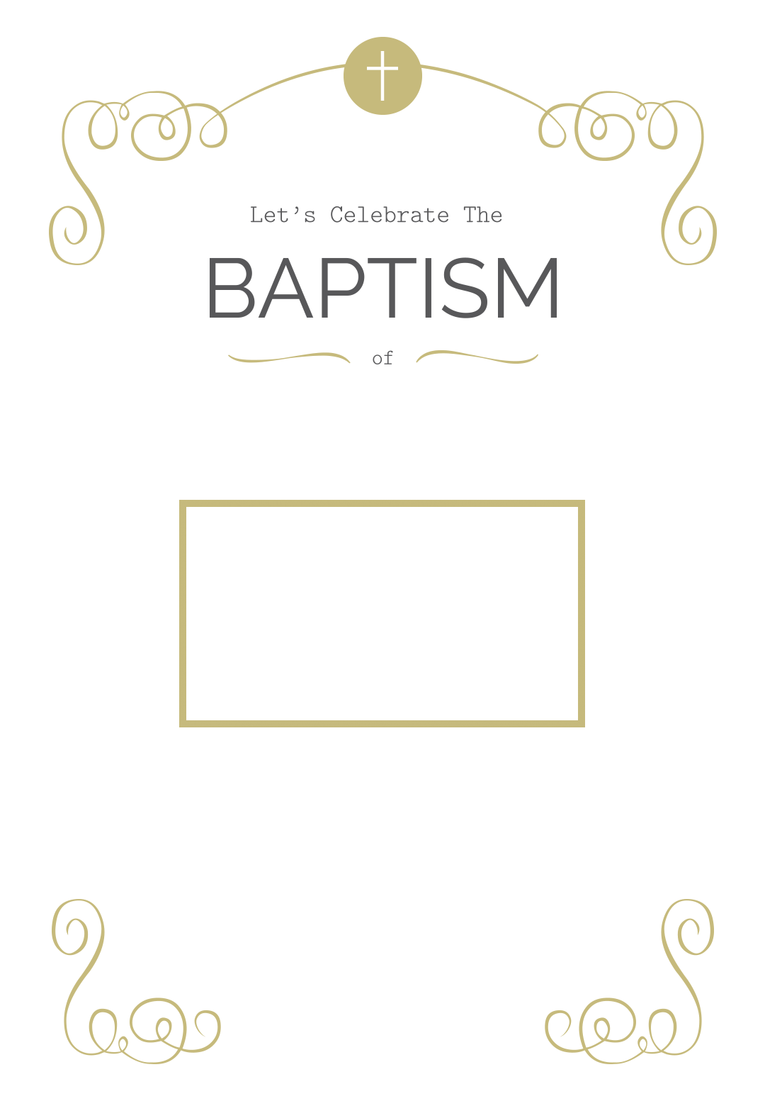 graphic relating to Free Printable Baptism Invitation Template titled Cross And Scrolling - Totally free Printable Baptism Christening