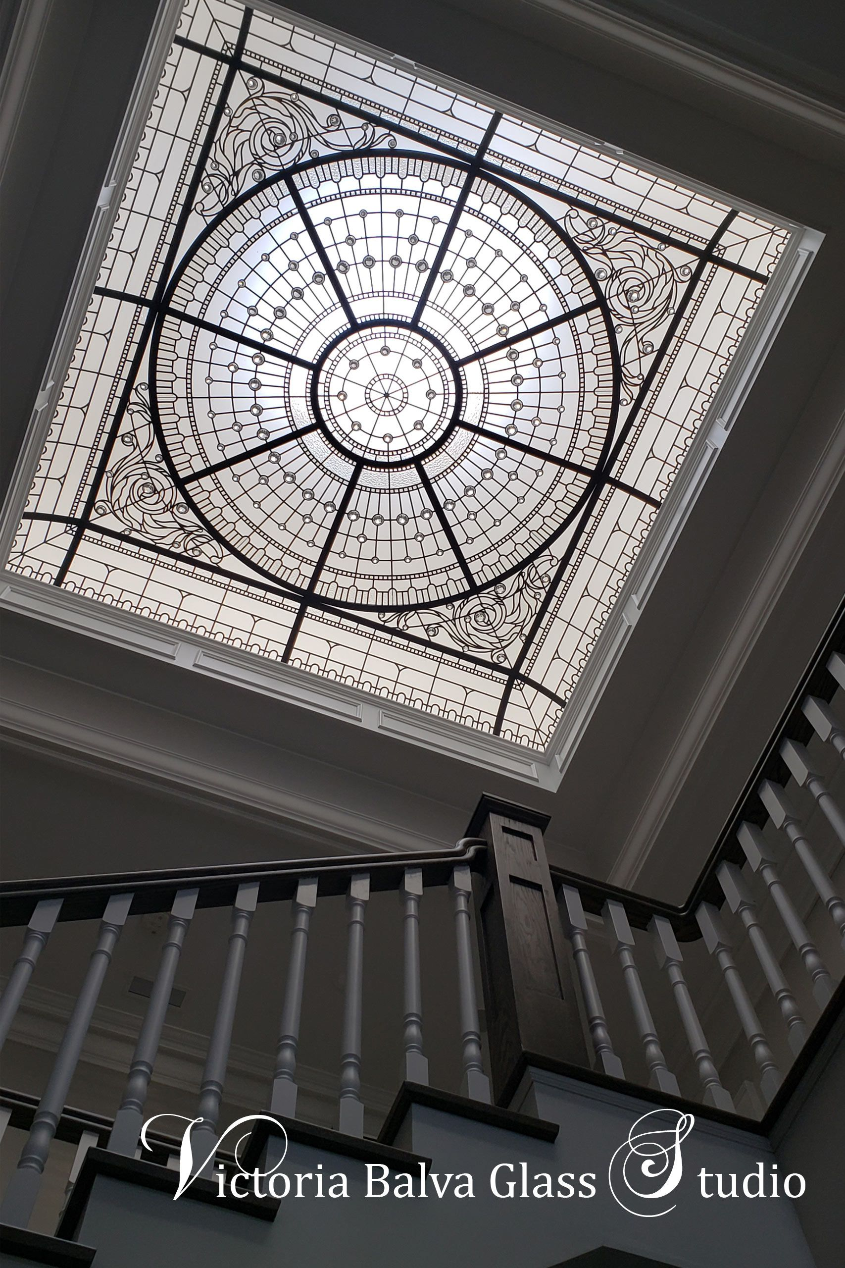 Beautiful Colorless Leaded Glass Skylight For House Interior Skylight Design Glass Roof Glass Decor
