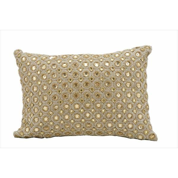 kathy ireland Marble Beads Beige Throw Pillow (10-inch x 14-inch) by Nourison