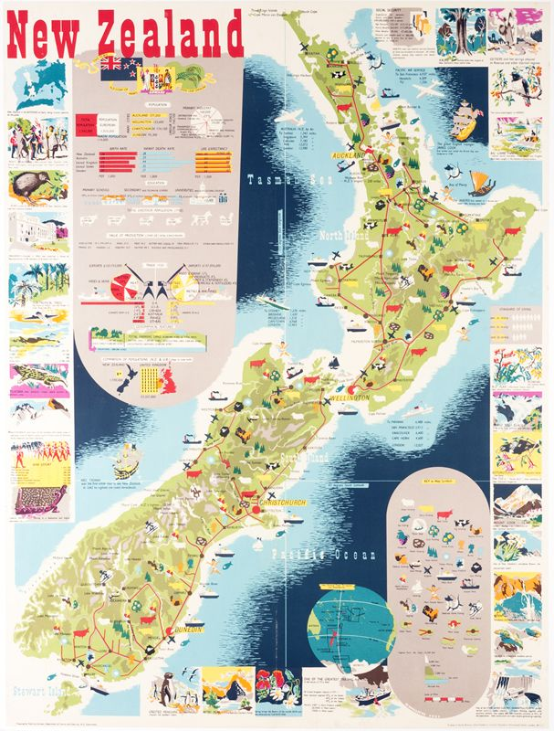 Map of New Zealand by Mallitte, H Vintage Posters at - new unique world map poster