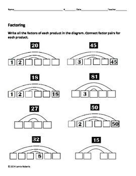 Factoring and Greatest Common Factors review worksheets. Great for factor rainbows...and