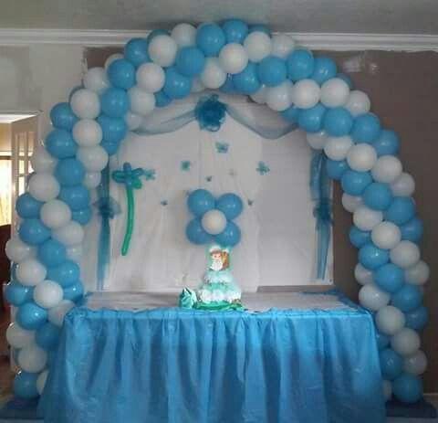 White Baby Blue Balloon Arch Balloon Decorations Balloons
