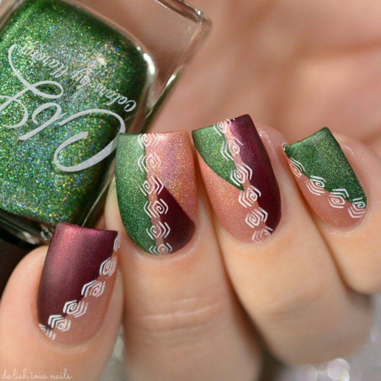 Color Block Nail Art using striping tape. Nail stamping design ...