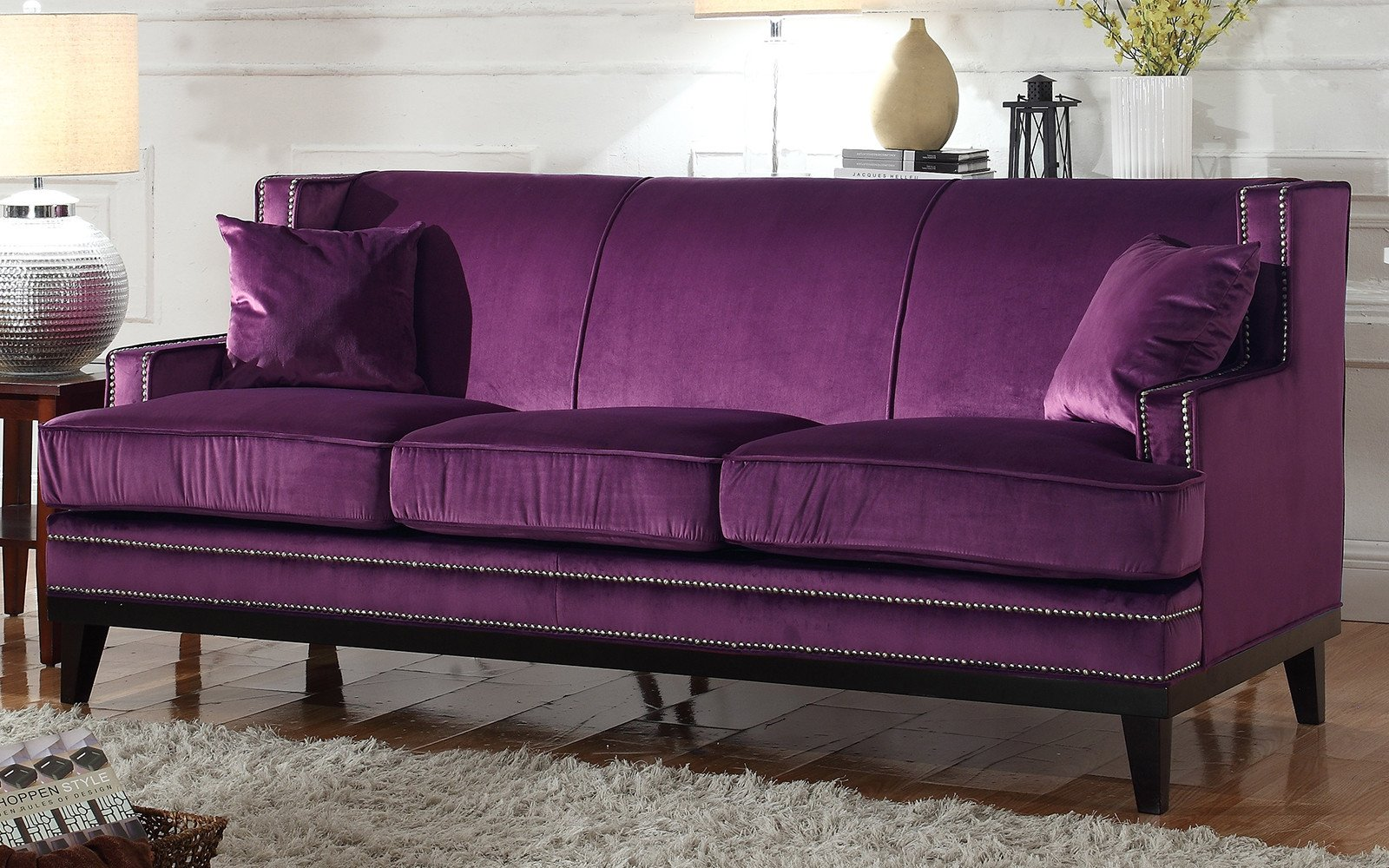 Abe Modern Nailhead Trim Velvet Sofa In Purple