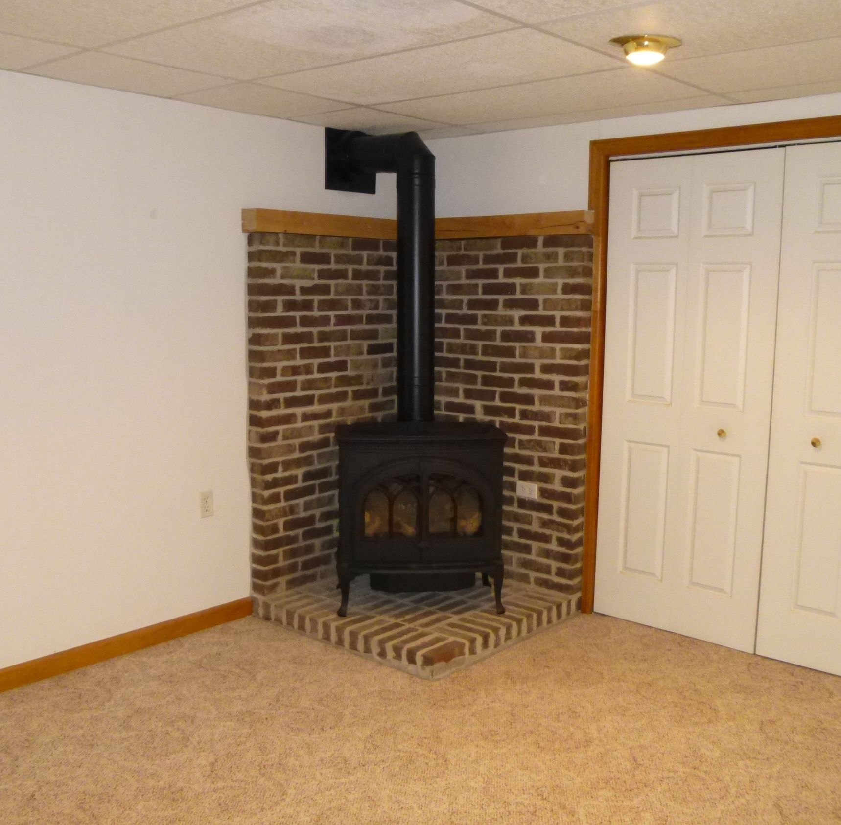 Gas stove makes the family room cozy in winter!