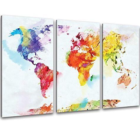 Kunstdruck Leinwand kunstdruck 3 teilig wand bilder bunte weltkarte auf leinwand