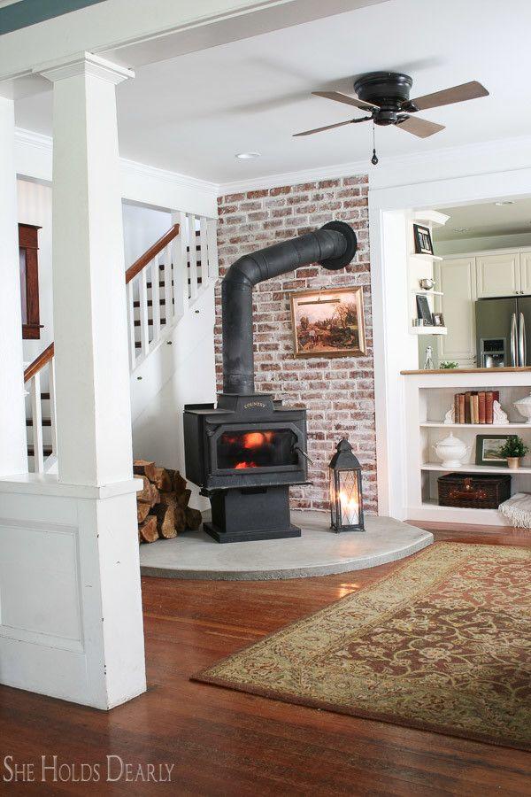 Farmhouse Tour She Holds Dearly Farmhouse Renovation Wood Stove Fireplace Wood Stove Decor