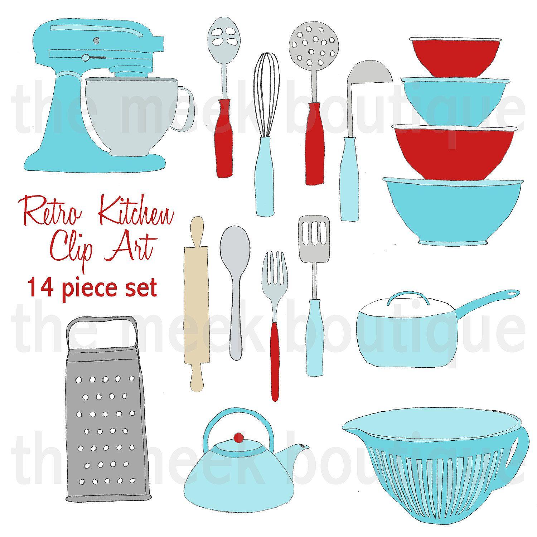 INSTANT DOWNLOAD, Retro Kitchen Clip Art Set