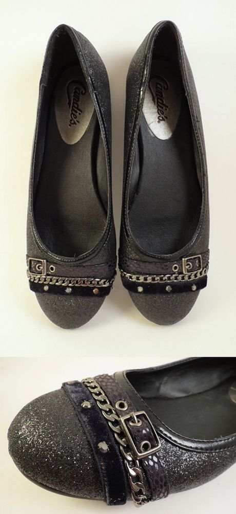 Black Glitter Ballerina Flats Womens Size 6 6.5 Low Slip Ons Shoes Buckle #Candies #LoafersMoccasins