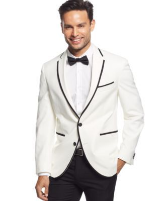 Kenneth Cole New York Classic-Fit White with Black Slim Dinner ...