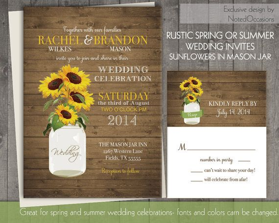 Sunflower wedding invitation set rustic sunflower wedding for Mason jar beach wedding invitations