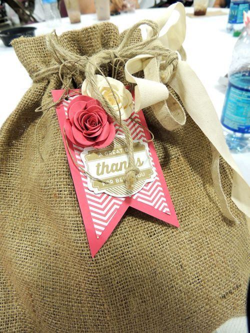 Paper flower roses added to a burlap bag great diy gift bag paper flower roses added to a burlap bag great diy gift bag spiral flower solutioingenieria Choice Image