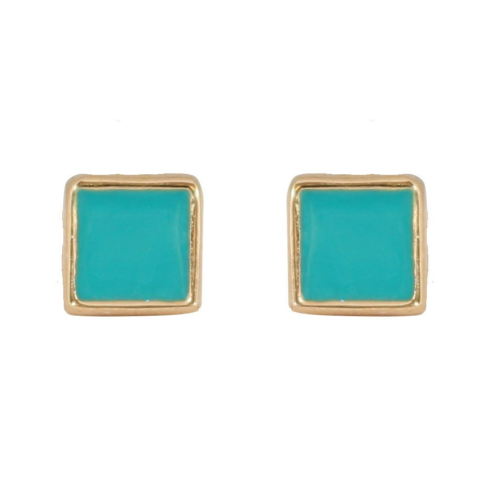 CHIC Simple Turquoise Stud Clip On Earrings