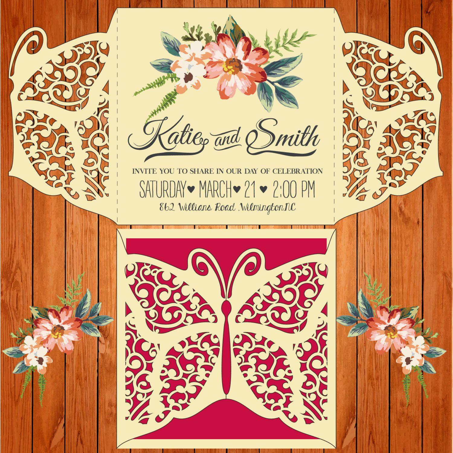 Invitation of the wedding card template, figures, Butterfly (studio ...