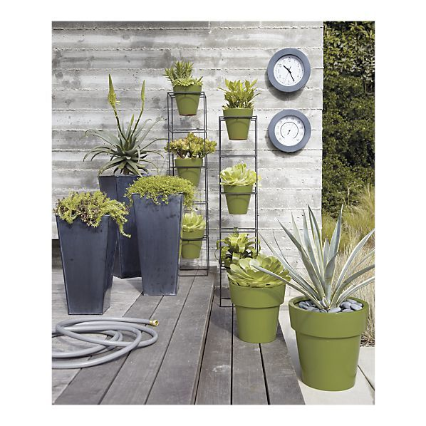 Set Of 3 Zinc Tall Square Planters In Garden Patio Crate And