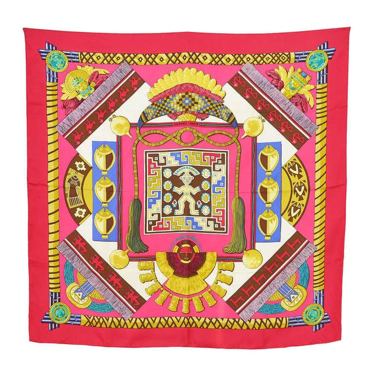 HERMES HUACA PIRU (Aztec Print) Scarf | From a collection of rare vintage scarves at https://www.1stdibs.com/fashion/accessories/scarves/
