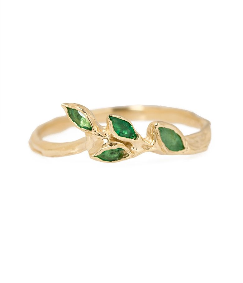 Emerald Leaf Ring Gold Diamond Wedding Rings Engagement Ring White Gold Gold Diamond Wedding Band