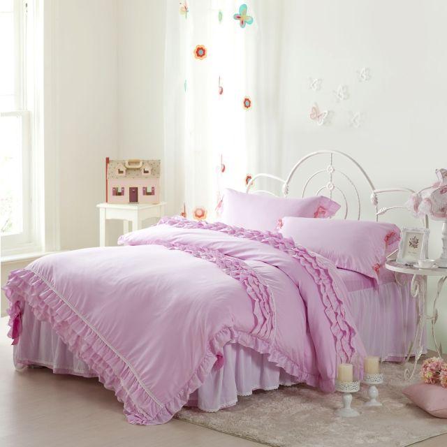 55 Purple Lace Bedding 4pcs Zzkko Ruffle Bedding Sets Lace