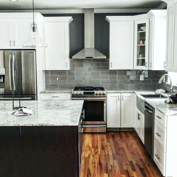white shaker cabinets dark cherry java island quartz java kitchen cabinets in 2020 white on kitchen island ideas white quartz id=23310