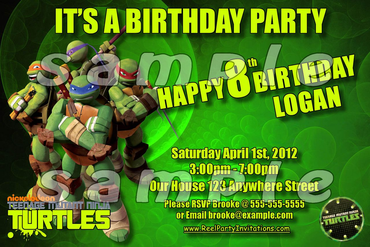 Nice Teenage Mutant Ninja Turtles Birthday Invitation Free Download ...