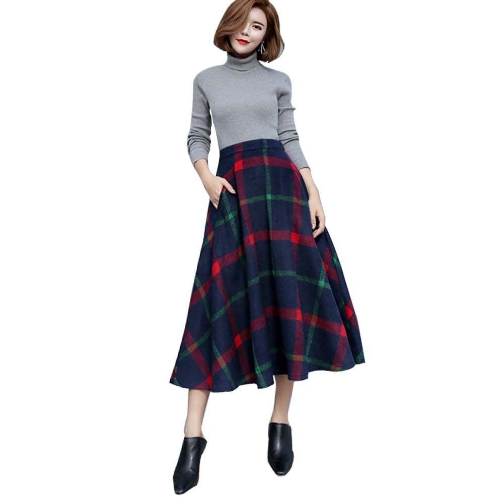 Ashir aley woolen blend long a line high waisted tartan plaid