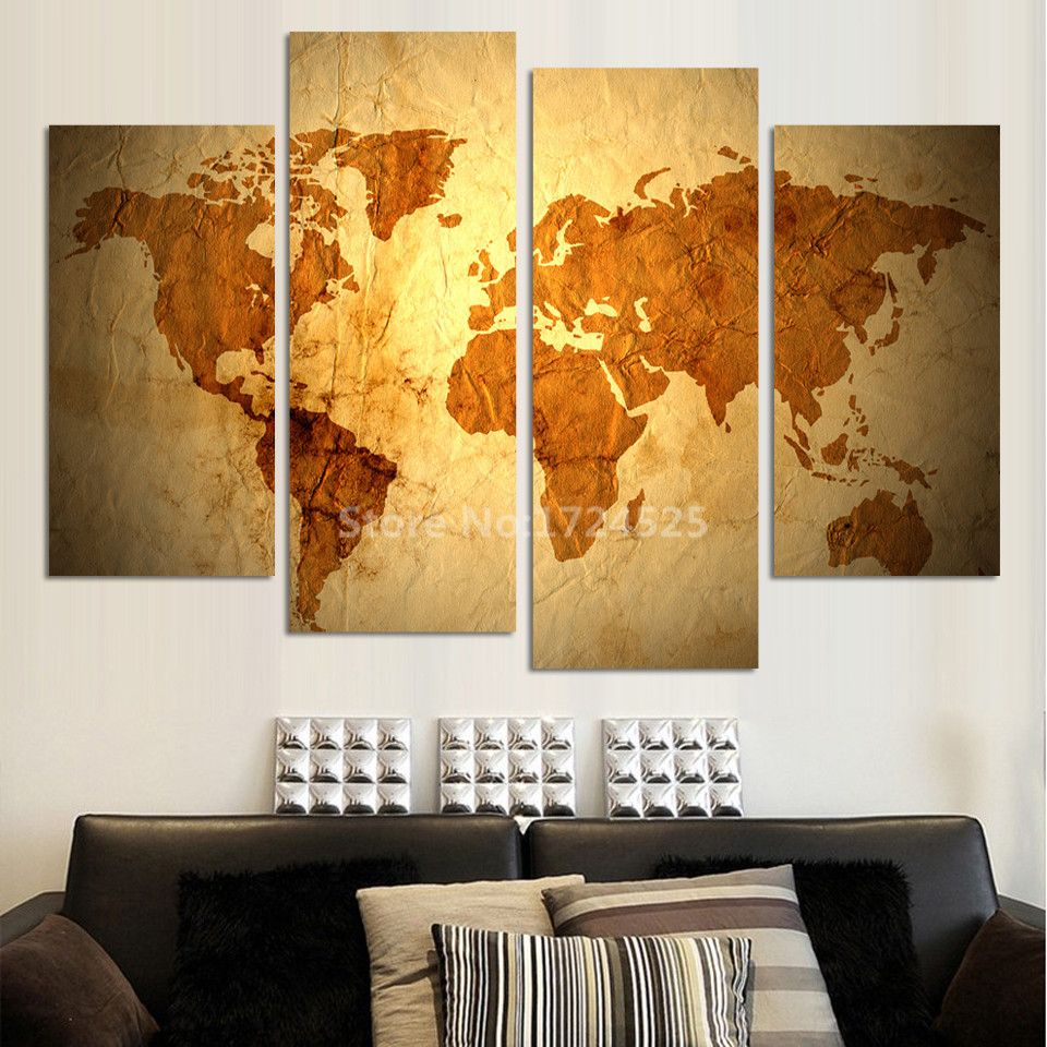 2017 Sale 4 Pcs No Frame Vintage World Map Hd Wall Pictures Home ...