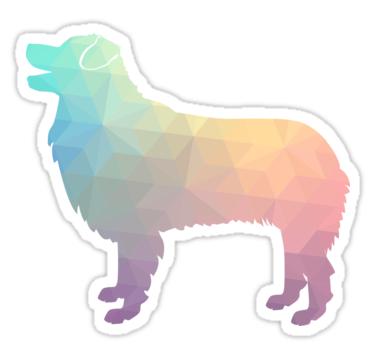 Aussie Shepherd Sticker - Dog Breed Colorful Geometric Pattern ...