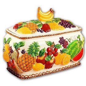 Mixed Fruit 3 D Ceramic Bread Box Very Elegant New Ceramic Bread Box Bread Boxes Mixed Fruit