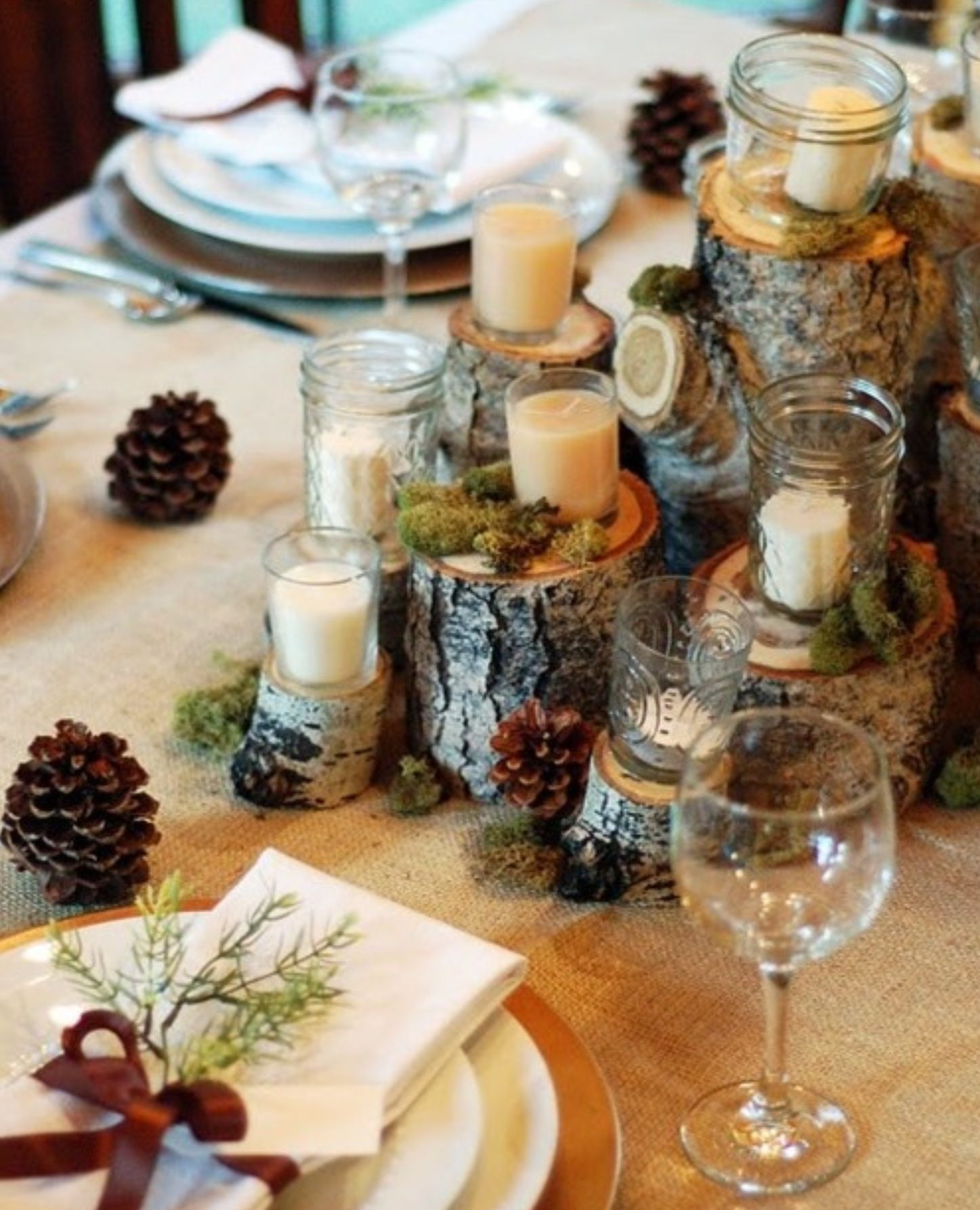Pine Cone Wedding Table Decorations Rustic Wedding Table Decor Wedding Ideas Pinterest Wedding