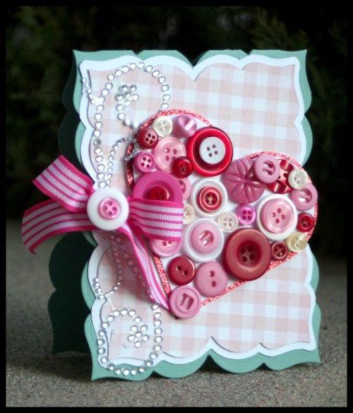 اعمال فنية سهلة وقليلة التكلفة وفرصة كبيرة للتجارة والربح Valentines Cards Cards Handmade Button Cards