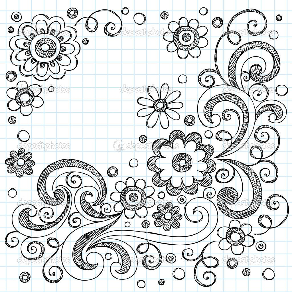 Doodles flowers sketchy doodles back to school vector for Cute designs for paper