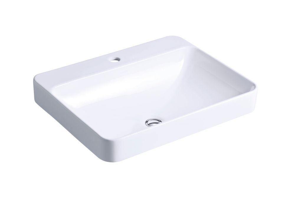 Vox Vitreous China Vessel Sink In White With Overflow Drain With Images Rectangular Sink