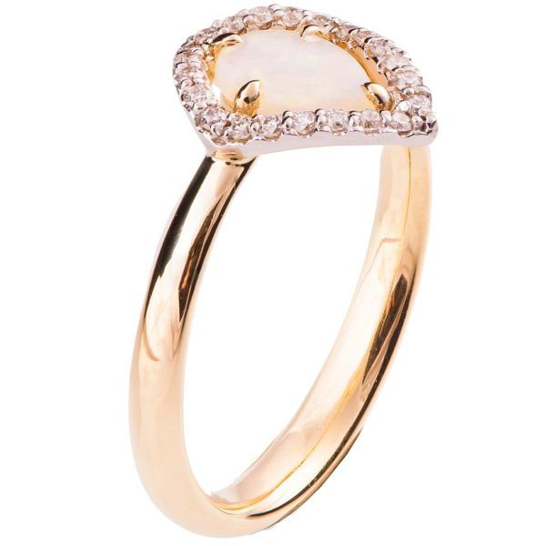 a2289068e5282c Halo Opal Engagement Ring Rose Gold | rings in 2018 | Pinterest ...